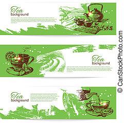 Set of tea vintage banners. Hand drawn sketch illustrations. Menu design backgrounds