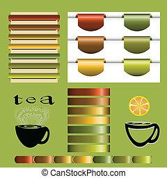 Set of tea vintage vector