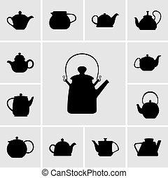 Set of teapot icons