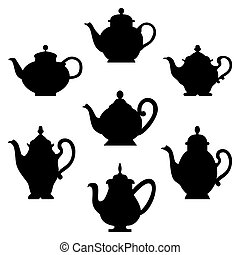 Black silhouettes of antique teapots or coffee pots. Design for your menu restaurant card