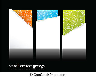 Set of teared gift cards.