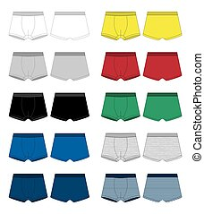 Set of technical sketch boxer shorts. Underpants isolated on white background.