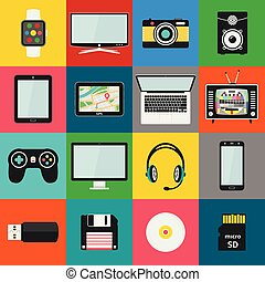 Set of technology and multimedia devices icons