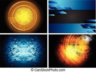 Set of technology backgrounds
