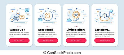Set of Technology icons, such as Approved award, Close button, Chat messages symbols. Vector