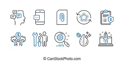 Set of Technology icons, such as Attachment, Loyalty points, Privacy policy. Vector