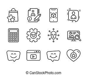 Set of Technology icons, such as Cogwheel, Smile chat, Loyalty points. Vector