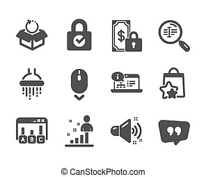 Set of Technology icons, such as Scroll down, Loyalty points, Stats. Vector