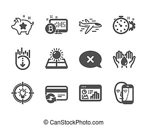 Set of Technology icons, such as Scroll down, Sun energy,...