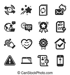 Set of Technology icons, such as Smile chat, Swipe up, Laptop symbols. Touchscreen gesture, Quick tips, Report checklist signs. Update document, Report, Timer. Reject medal, Share mail. Vector