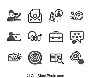 Set of Technology icons, such as Success business, Startup, Online education. Vector