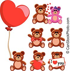 Set of teddy bear concerning love or valentine day isolated