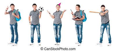 Set of teen boy on white