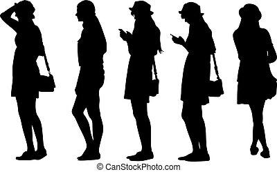 Set of teenage girls silhouettes