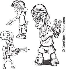 Set of teenage hooligans. Vector illustrations.