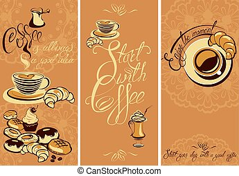 Set of Template Flayer or Menu design for coffeehouse. Background for restaurant or cafe. Hand written calligraphic text Enjoy the moment, Start your day with a good coffee.