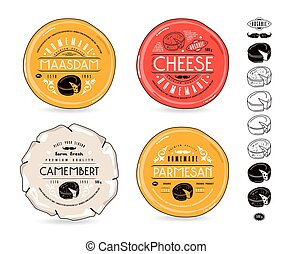 Set of template labels for cheese and icons