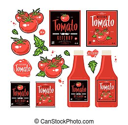 Set of template labels for tomato ketchup red