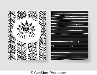 Set of templates boho cards. Hand drawn vector patterns...