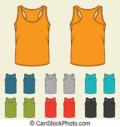 Set of templates colored singlets for men.
