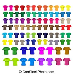Set of templates colored t-shirts