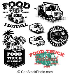 set of templates, design elements, vintage style emblems for food truck