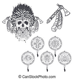 Illustration of a template for a tattoo with a human skull in an set of templates for a tattoo with a human skull in an indian feather hat maxwellsz