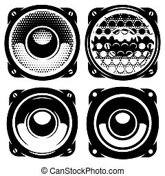 set of templates for posters or badges with monochrome acoustic speakers