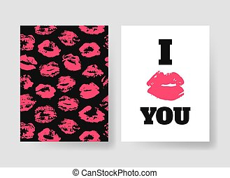 Set of templates for romantic cards. Hand drawn fashion...