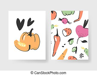Set of templates for summer cards. Hand drawn vector patterns brochures with veggies. Actual artistic design vegetables