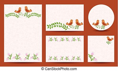 set of templates for wedding - invitation vector cards