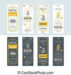 Set of templates label for olive oil