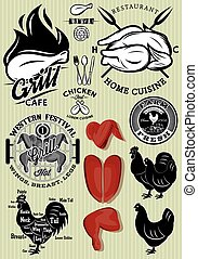 set of templates on the theme of chicken for design