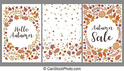Set of templates with autumn leaves. Vector graphics.