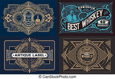 set of templates with banners vintage and design elements