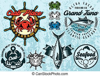 set of templates with crab and tuna for design packing...