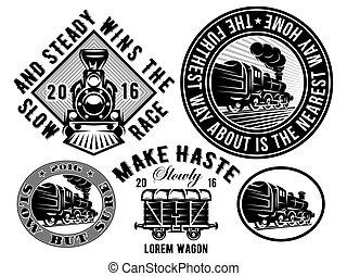 set of templates with retro locomotive, wagon, vintage train, logotype, illustration to topic railroad