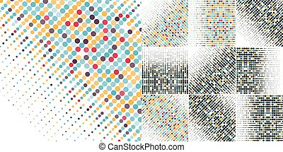Set of ten backgrounds with the colored circles in a vector. Vintage color.