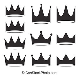 Set of ten black crowns for heraldry design on white background.