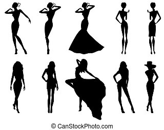 Set of ten female silhouettes over white - Set of ten hand...