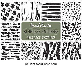Set of ten hand drawn ink seamless patterns. Endless vector...