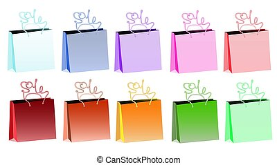 Set of ten multicolored gradient realistic bulk paper bags for shopping with pens in the form of an inscription sale on a white background and copy space. Vector illustration