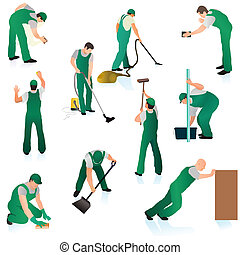 Set of ten professional cleaners in green uniform