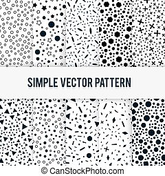 Set of ten vector seamless simple chaotic forms of vector pattern on a white background.