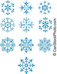 Set of ten winter vector snowflakes