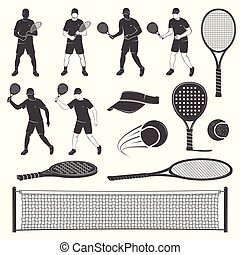 Set of tennis and paddle tennis equipment silhouettes. Vector illustration.