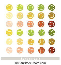 Set of Tennis Balls on White Background