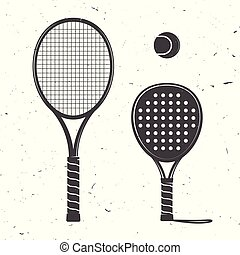 Set of tennis rackets and tennis ball icon.