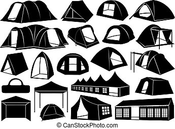 Set of tents isolated on white