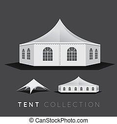 Set of tents. Vector illustration on dark background